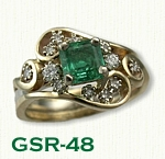 GSR-48 14kt Two Tone Custom Emerald and Diamond Ring using customers stones