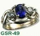 GSR-49-14Kt Yellow Gold Custom Sapphire and Diamond Gemstone Ring setwith a 1.28ct Oval Blue Sapphire and 2 - .20ct Side Diamonds