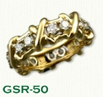 GSR-50 18kt Yellow Gold Custom Cross Over X and Diamond Ring - 1.00ctw - 0.07pt diamonds
