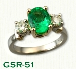 GSR-51 14kt Two Tone Custom Emerald and Diamond Gemstone Ring