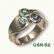 GSR-52 14kt Rose Gold Swirl Designed Mother's Ring - set with a sapphire, tourmaline and blue zircon - swirls in different colors of gold
