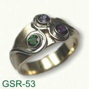GSR-53 14kt Yellow Gold Custom Gemstone Ring set with chatham alexandrite, amethyst & tsavorite garnet