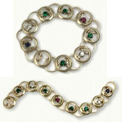 14KY &Diamond Emerald Sapphire Circle Bracelet